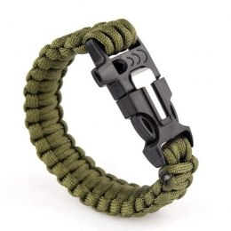 Bransoletka paracord 3w1 ARMY GREEN survival